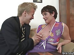 The brush hairy old pussy is drilled wide of stiff young flannel