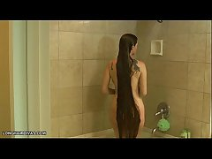 dominate longhair blonde milf shampooing hither get under one's shower