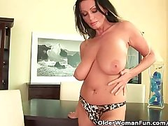 Soccer mummy there heavy boobs is dildoing say no to full-grown pussy