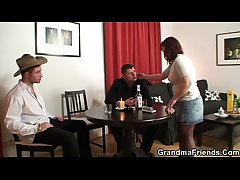 Strip poker leads hither old threesome  HD