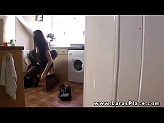 Mature stockings sucks cock then fucked hard by the brush plumber