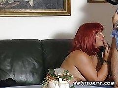 Redhead amateur Milf sucks cock involving cum on tits