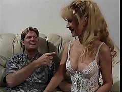 Sexy adult blonde in lingerie gets fucked on a couch