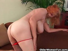 Hairy grandma prevalent obese titties has solo sex