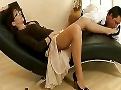 Sexy mature slut in nylons and heels teases a young radiate