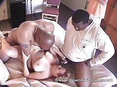 Mature Redhead MILF Outset Marie Interracial Gangbang Part 2