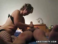 Mature wife toying screwing and giving handjob in the matter of cumshot