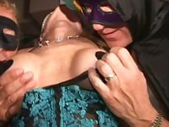 Big clit masked MILF cums lustily in Trapeze swingclub