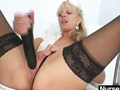 Venerable beauteous milf wadding pussy with huge dildo