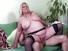 Big boobed mature sexy ma fucked by young beau