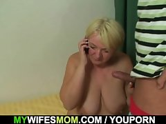 Domineer girlfriends mother sucks together with rides his cock