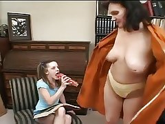 Tiny girl and mature toying