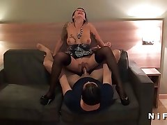 Busty french grown up hard anal fucked by several guys