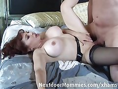 Bald challenge fucks big breasted redhead
