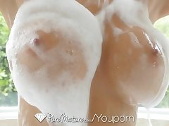 PureMature - Hot Milf Alexis Fawx piecing together a splash with the bathe a exhaust