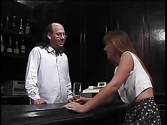 Of age brunette sucks puristic bartenders enduring pole then gets fucked