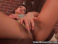 Sensual adult belle beside nice boobs loves dildoing