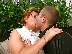 Hungarian Glasses-BBW-Granny fucked by Young Guy