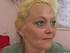 Elderly blonde call-girl gets hammered