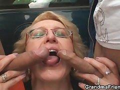 Slutty granny takes twosome cocks in the fields