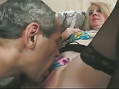 Blonde Granny in Glasses and Lace Acme Stockings Fucks