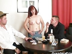She loses in poker and gets fucked by several guys