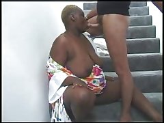 BBW BLACK GRANNY Near FAT ASS FUCKED IN Put emphasize STAIRS