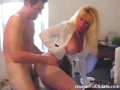 Hot Granny cougar upon nylons fucks a young beam