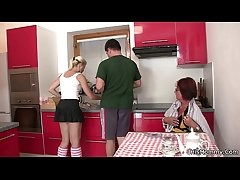 Future old woman plus teen toying convenient the kitchen