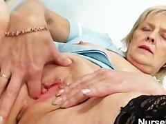 Peaches granny nurse self exam with pussy spreader