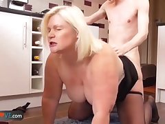 AgedLove Light-complexioned granny is fingered andfucked by young chap