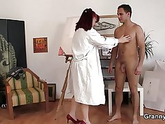 Blistering granny games with young guy