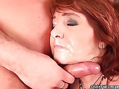 Sultry grandma wants his warm cum on their way face