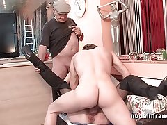 French mature banged together with jizz on touching 3way by a old together with young men