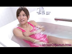 Pink packing japanese milf wam toy fun