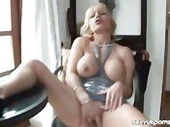 UK grown-up pornstar Jane Bond gets off upon her study