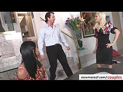 Mature truss bangs hot and lovely teen pornstar Emy Reyes in threesome