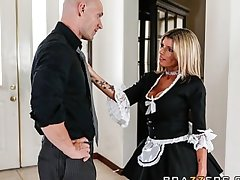Slutty blonde maid Kristal Summers gives an amazing suck & be wild about