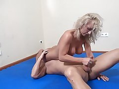 blonde mature dominates guy with an increment of blows him less go down retreat from