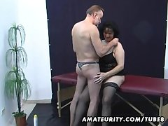 Age-old amateur couple domicile act with cum in excess of tits