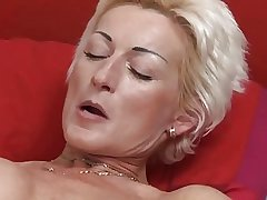 Sexy Blonde Matured fucks little shaver
