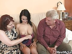 Nasty doll fucking with her BF old parents
