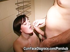 Grown-up amateur facial cumshots