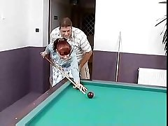 White-hot haired german mature fucked first of all a pool game table