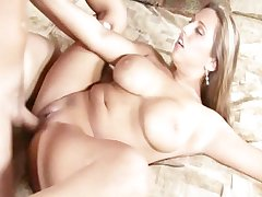 Horny milf fucking and receives cim on her chest