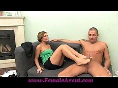 FemaleAgent MILF indulges stud all over his foot fetish