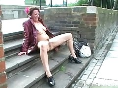 Mature death-defying masturbating alongside public and squirting on pavements