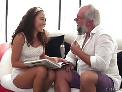 Sweet brunette dame getting fucked by an older man