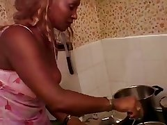 French Dark-skinned Grown up Gets Banged In Rub-down the Kitchen