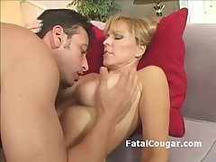 Bigtits older battle-axe in pantyhose comedy on big dick and gives tight titjob